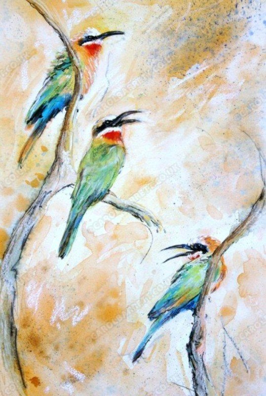 """<span style=""""float:left"""">Courtship rival – Whitefronted Bee-eater</span><span style=""""float:right""""><a href=""""http://www.carolbarrett.co.uk/paintings/courtship-rival-whitefronted-bee-eater/?from=/birds-sold/"""">More info »</a></span>"""