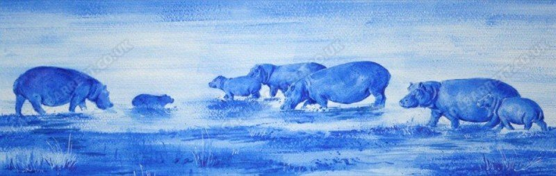 """<span style=""""float:left"""">Hippo Lagoon</span><span style=""""float:right""""><a href=""""http://www.carolbarrett.co.uk/paintings/hippo-lagoon/?from=/african-wildlife-sold/"""">More info »</a></span>"""