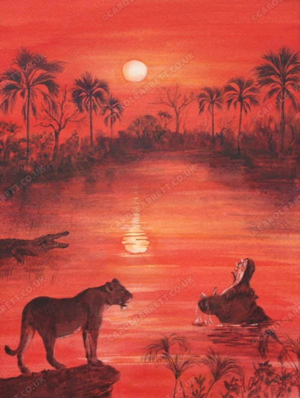 "<span style=""float:left"">Okavango Sunset</span> <span style=""float:right""><a href=""http://www.carolbarrett.co.uk/paintings/okavango-sunset-2/?from=/african-wildlife-for-sale/"">More info »</a></span>"