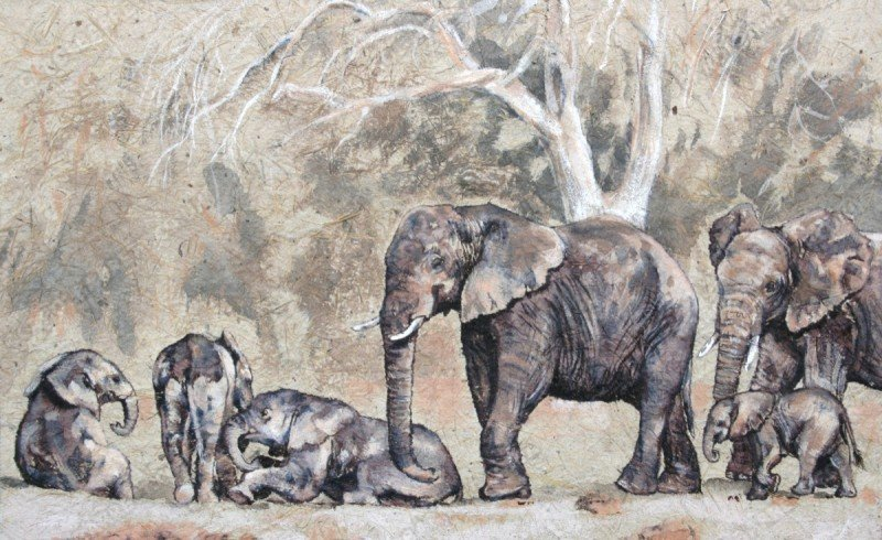 """<span style=""""float:left"""">Supervised playtime</span><span style=""""float:right""""><a href=""""http://www.carolbarrett.co.uk/paintings/supervised-playtime/?from=/elephants-sold/"""">More info »</a></span>"""