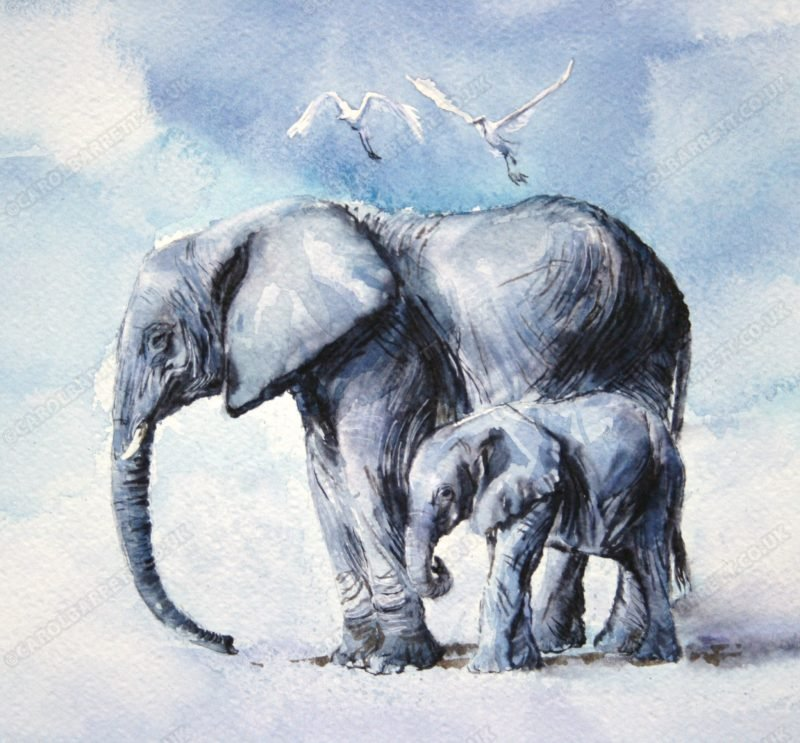 """<span style=""""float:left"""">Egret Duet</span><span style=""""float:right""""><a href=""""http://www.carolbarrett.co.uk/paintings/egret-duet/?from=/elephants-for-sale/"""">More info »</a></span>"""