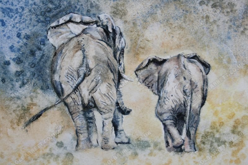 """<span style=""""float:left"""">Not far now</span><span style=""""float:right""""><a href=""""http://www.carolbarrett.co.uk/paintings/not-far-now/?from=/elephants-sold/"""">More info »</a></span>"""