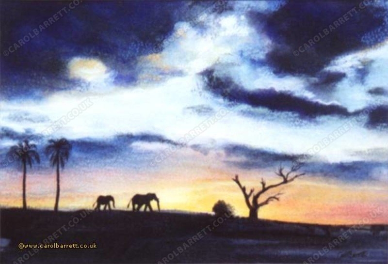 """<span style=""""float:left"""">African Sky</span><span style=""""float:right""""><a href=""""https://www.carolbarrett.co.uk/paintings/african-sky/?from=/elephants-sold/page/2/"""">More info »</a></span>"""