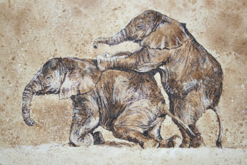 "<span style=""float:left"">Mud wrestling babies</span> <span style=""float:right""><a href=""https://www.carolbarrett.co.uk/paintings/mud-wrestling-babies/?from=/elephants-sold/page/2/"">More info »</a></span>"